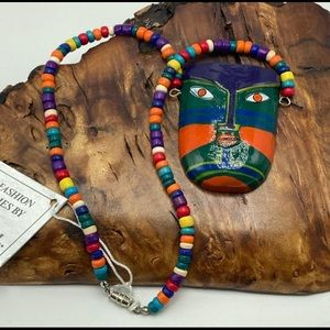 NWT 90s vintage Africa mask indigenous face beads